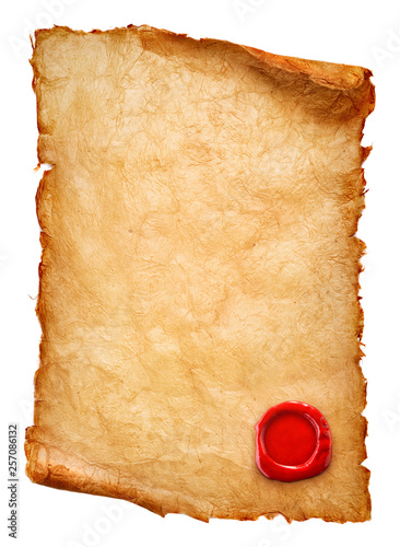 old paper scroll with wax seal isolated on white