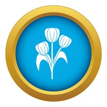 Flowers Icon Blue Vector Isola...