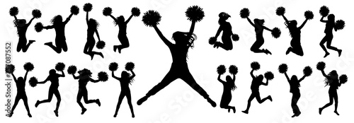 Cuadros en Lienzo Silhouettes of cheerleading dancers (jumping and standing) with pompoms, isolated set of icons