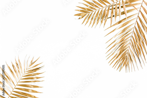 Photo Gold tropical palm leaves on white background