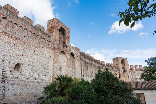Poster Maroc city wall with tower and battlement in Cittadella, Italy