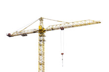 High-rise Construction Crane With A Long Arrow Of Yellow Color On A White Background