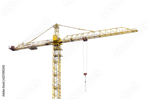 Fotografia high-rise construction crane with a long arrow of yellow color on a white backgr