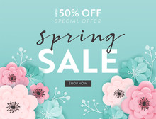 Spring Sale Banner Background With Paper Cut Flowers. Spring Discount Voucher Template, Brochure, Poster, Advertising Promotion. Vector Illustration