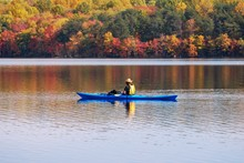 Kayaking In Lake With Reflection Of Fall Leaves.