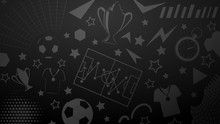 Background Of Football Or Soccer Symbols In Black Colors