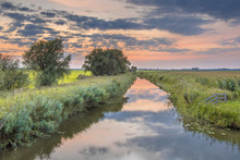 Canal In Agricultural Landscape