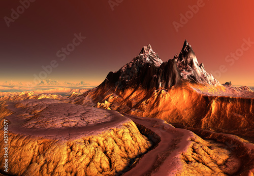 Foto auf Leinwand Braun 3D Rendered Fantasy Mountain Landscape - 3D Illustration