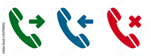 Fotografia, Obraz  Set incoming, outgoing, missed call phone icon