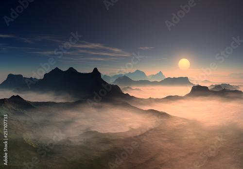 Obraz 3D Rendered Fantasy Mountain Landscape - 3D Illustration - fototapety do salonu