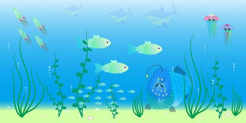 Fototapeta na wymiar animals of the ocean depths vector illustration