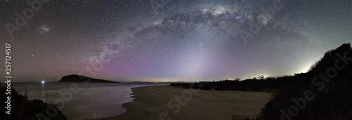 Valokuva  Zodiacal light under the Milky Way with a subtle aurora, Tasmania