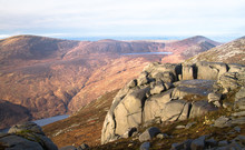 Weathered Rock Sits On The Peak Of Slieve Binnian In The Mourne Mountains, Northern Ireland, UK.