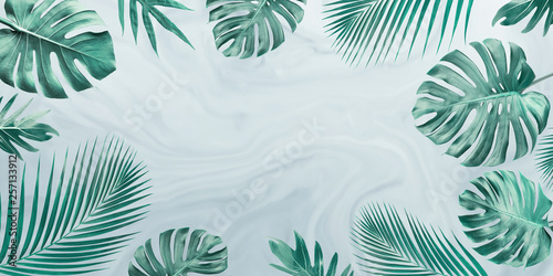 Foto auf Gartenposter Blumen Group of tropical leaves on marble background.Copy space.Nature and summer concept