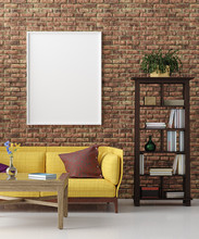 Mockup In Colorful Hipster Living Room, Bohemian Style, 3d Render