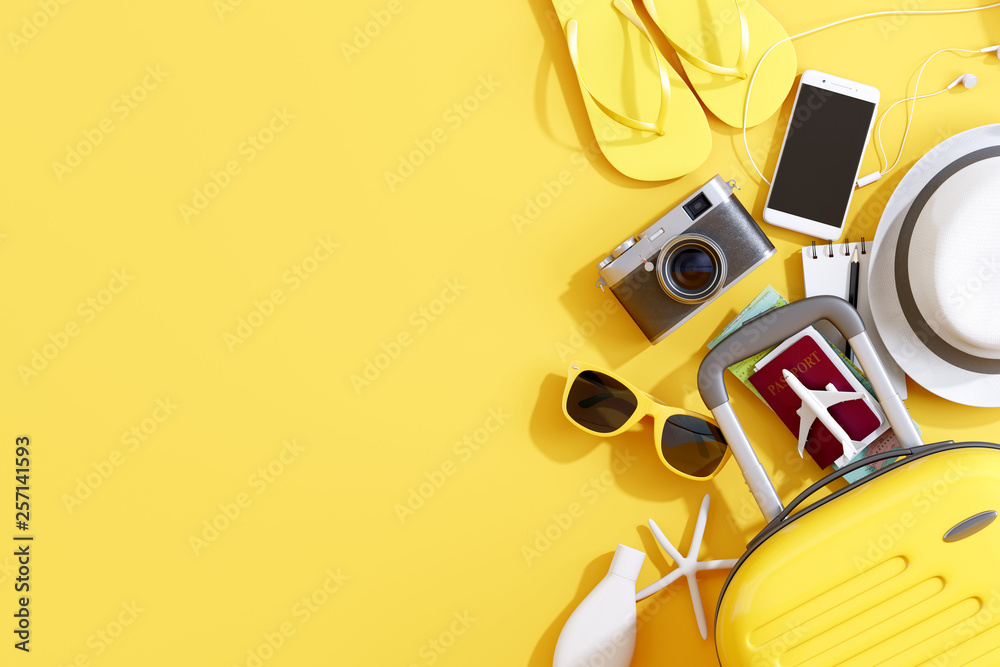Fototapeta Flat lay yellow suitcase with traveler accessories on yellow background. travel concept. 3d rendering
