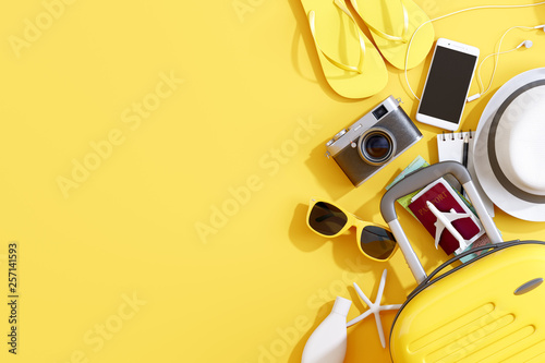 Obraz Flat lay yellow suitcase with traveler accessories on yellow background. travel concept. 3d rendering - fototapety do salonu