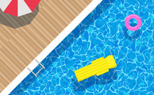 Top View Swimming Pool .floating Mattress Ring Umbrella On Water Surface Vertical Background Diagonal Composition