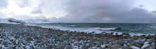 Coast Of The Barents Sea In February Day. Teriberka, Russia