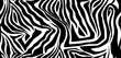 Zebra skin seamless vector pattern. Striped black and white wool texture of the animal for corporate identity, clothing or printing on paper.