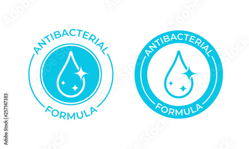 Obraz Antibacterial formula vector icon. Antibacterial soap or antiseptic and chemical cleaner product package seal - fototapety do salonu