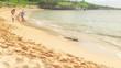 A family runs down the beach through the sand during the day