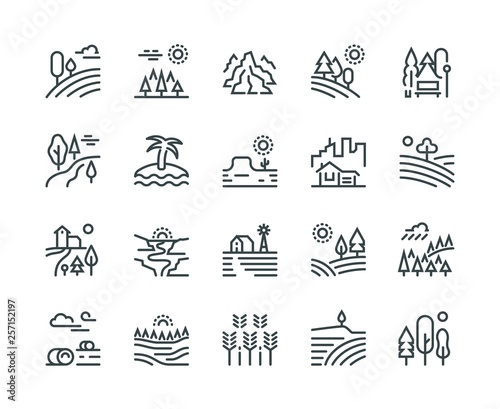 Fototapeta Landscape line icons. Nature park mountain hill forest trees and countryside garden, industrial megapolis cityscape vector pictograms set obraz
