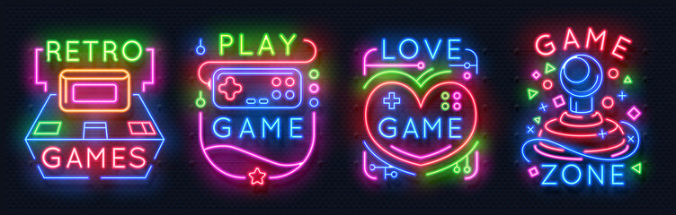 Neon game signs. Retro vide...