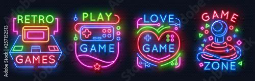 Neon game signs. Retro vide...