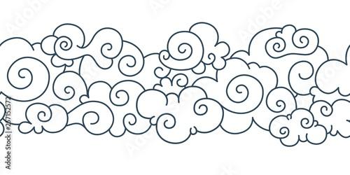 Asian cloud pattern. Chinese japanese oriental border hand drawn tibetan sky ...