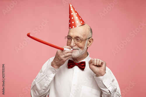 Tela Portrait of cheerful good-looking elderly retired man with thick gray beard stan