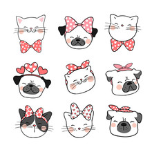 Draw Head Of Cat And Pug Dog With Sweet Bow