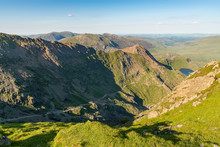 Walk Between Mount Snowdon And Pen-y-Pass, With Glaslyn And Llyn Llydaw, Gwynedd, Wales, UK