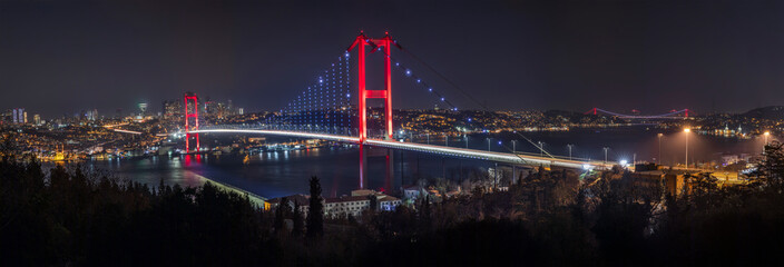 Bosphorus Panorama. Bosphorus bridge in Istanbul Turkey