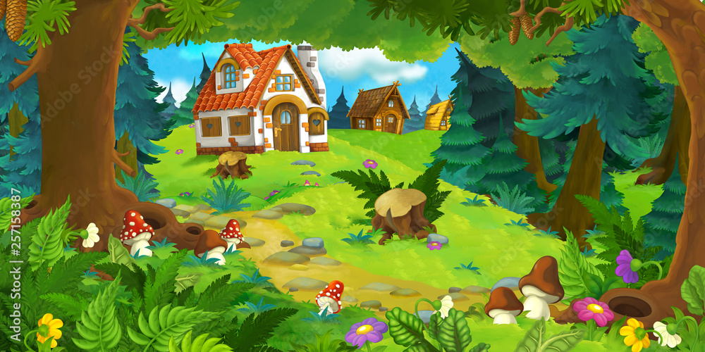 Fototapeta cartoon scene with beautiful rural brick house in the forest on the meadow - illustration for children