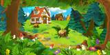 kreskówki scena z pięknym wiejskim ceglanym domem w lesie na łące - ilustracja dla dzieci