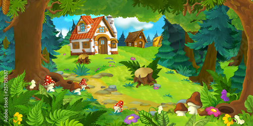 Obraz cartoon scene with beautiful rural brick house in the forest on the meadow - illustration for children - fototapety do salonu
