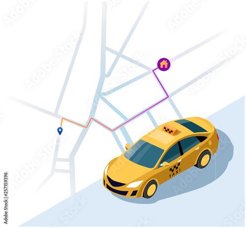 Obsługa taksówki. Pojęcie taksówki. Wektor 3d izometryczny ilustracja żółty samochód taxi z najkrótszą mapą trasy do domu