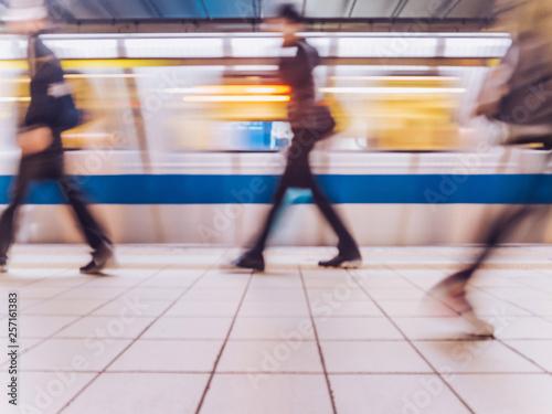 Fotografering  Subway train leaving station