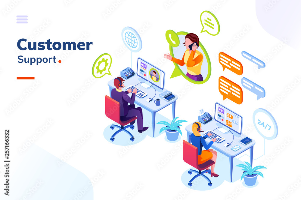 Fototapeta Customer service people office or isometric call center room. Man support and woman phone assistant, Operator with headset doing live feedback. Online user or client support centre. Work, job, hotline