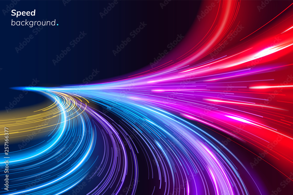Fototapeta Abstract colorful speed background with lines in shape of track turn. Geometric and dynamic, trendy layout for racing club or sport competition, event poster. Futuristic and motion, race and linear