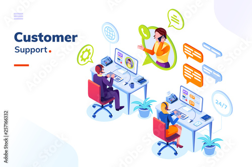 Fotografía  Customer service people office or isometric call center room