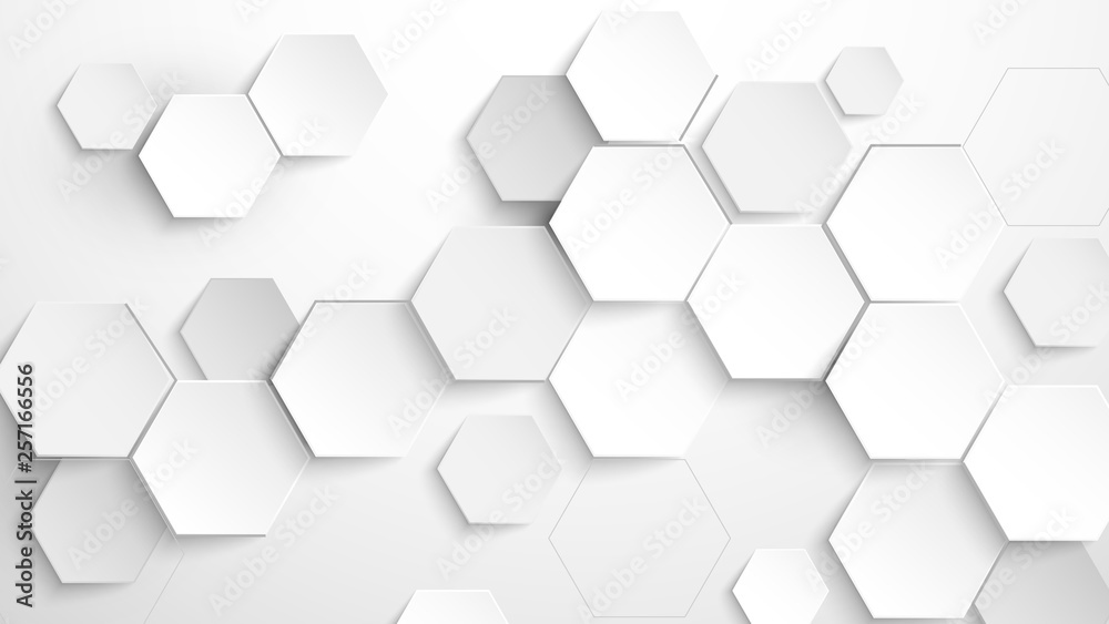 Abstract white hexagon background. Vector Illustration