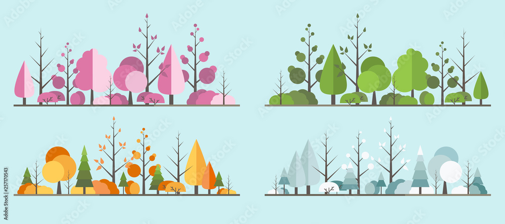 Fototapeta Natural all seasons landscape with a tree in the flat style. a beautiful park.Environmentally friendly natural landscape.