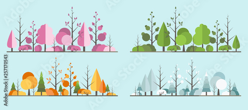 Papel de parede Natural all seasons landscape with a tree in the flat style