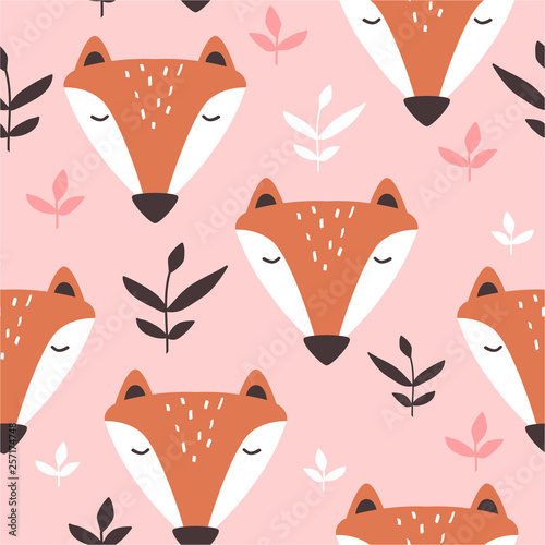 Muzzle of foxes, hand drawn backdrop. Colorful seamless pattern with muzzles of animals, leaves. Cute wallpaper, good for printing. Overlapping background vector. Design illustration