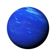 Planet Neptune Isolated On White Background, Part Of The Solar System
