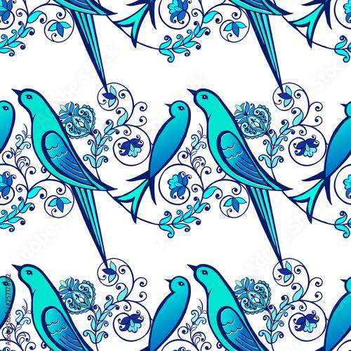 Foto  indigo blue seamless pattern. Floral wallpaper.