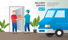 Illustration Concept Of Delivery Services. Express Delivery Concept, Delivery Parcel To Door. Vector Illustration