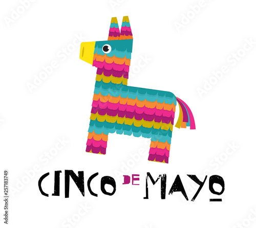 Fotografia Mexican Fiesta banner and poster design with donkey pinata, flowers, decorations